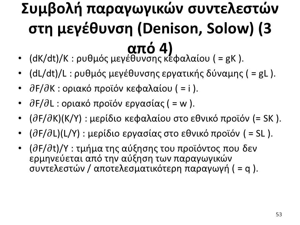 Συμβολή παραγωγικών συντελεστών στη μεγέθυνση (Denison, Solow) (3 από 4) 53