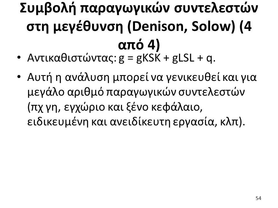 Συμβολή παραγωγικών συντελεστών στη μεγέθυνση (Denison, Solow) (4 από 4) Αντικαθιστώντας: g = gKSK + gLSL + q.