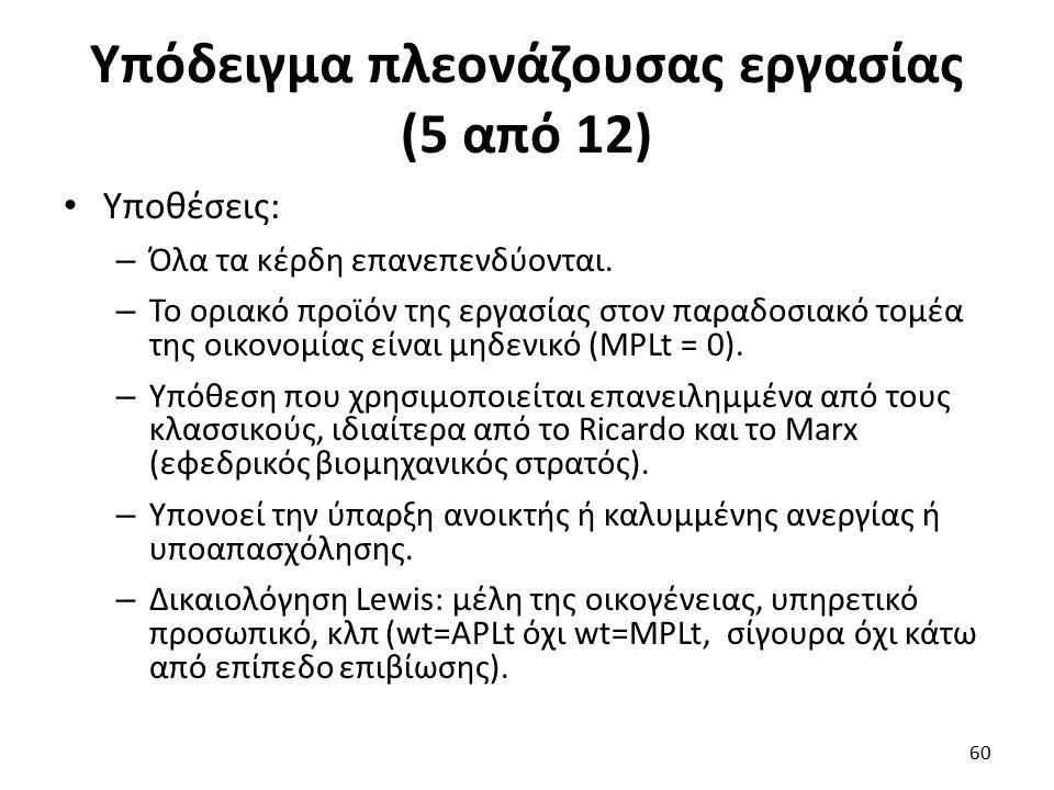 Υπόδειγμα πλεονάζουσας εργασίας (5 από 12) Υποθέσεις: – Όλα τα κέρδη επανεπενδύονται.