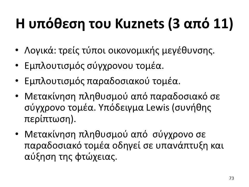 Η υπόθεση του Kuznets (3 από 11) Λογικά: τρείς τύποι οικονομικής μεγέθυνσης.