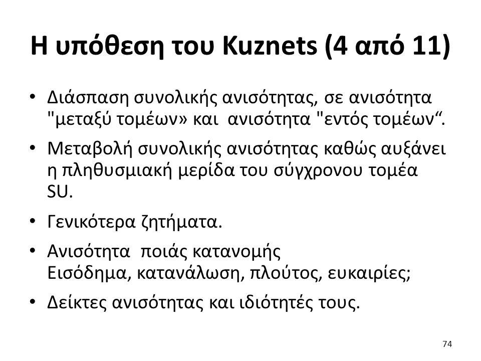 Η υπόθεση του Kuznets (4 από 11) Διάσπαση συνολικής ανισότητας, σε ανισότητα μεταξύ τομέων» και ανισότητα εντός τομέων .