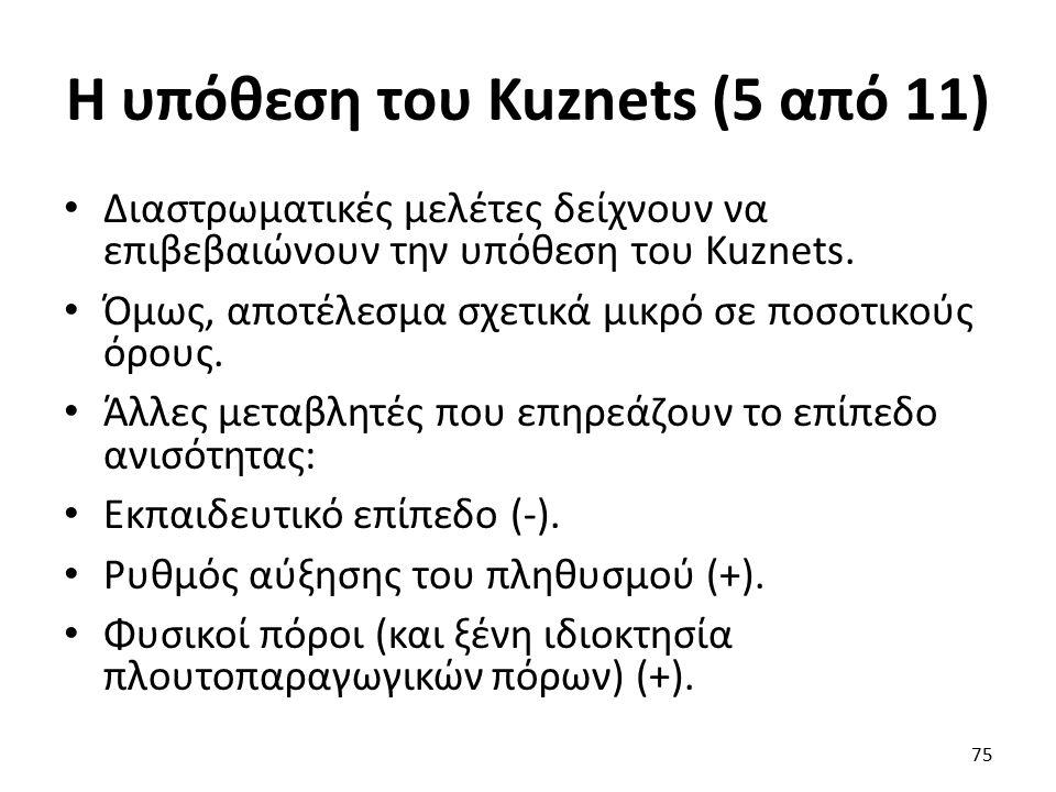 Η υπόθεση του Kuznets (5 από 11) Διαστρωματικές μελέτες δείχνουν να επιβεβαιώνουν την υπόθεση του Kuznets.