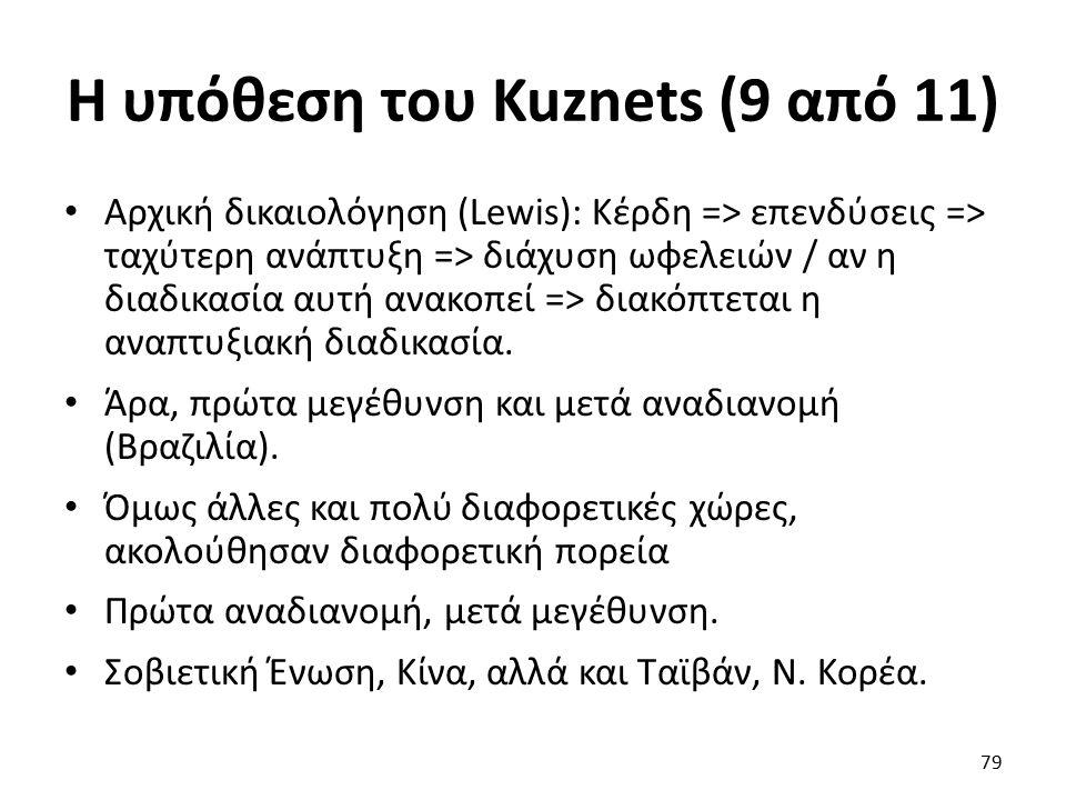 Η υπόθεση του Kuznets (9 από 11) Αρχική δικαιολόγηση (Lewis): Κέρδη => επενδύσεις => ταχύτερη ανάπτυξη => διάχυση ωφελειών / αν η διαδικασία αυτή ανακοπεί => διακόπτεται η αναπτυξιακή διαδικασία.