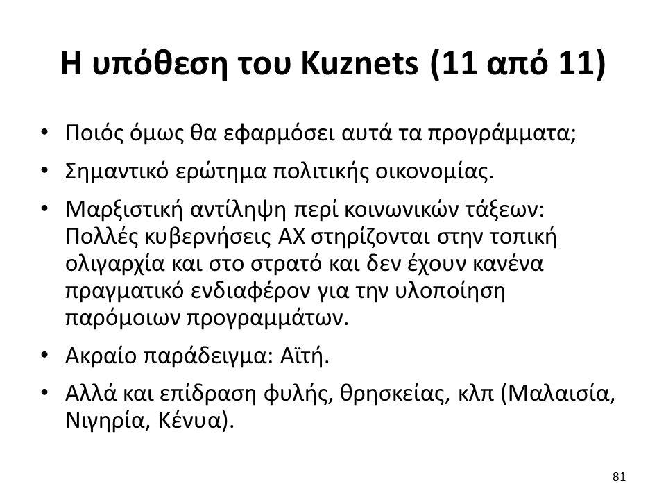 Η υπόθεση του Kuznets (11 από 11) Ποιός όμως θα εφαρμόσει αυτά τα προγράμματα; Σημαντικό ερώτημα πολιτικής οικονομίας.