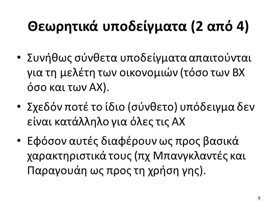 Θεωρητικά υποδείγματα (2 από 4) Συνήθως σύνθετα υποδείγματα απαιτούνται για τη μελέτη των οικονομιών (τόσο των ΒΧ όσο και των ΑΧ).