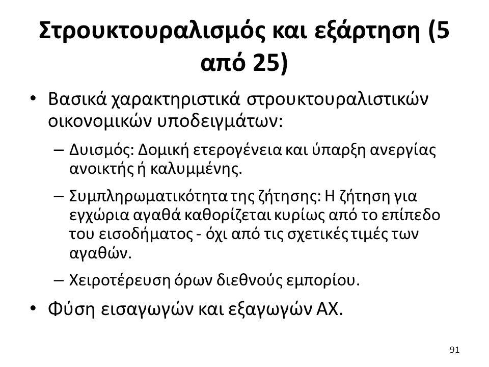 Στρουκτουραλισμός και εξάρτηση (5 από 25) Βασικά χαρακτηριστικά στρουκτουραλιστικών οικονομικών υποδειγμάτων: – Δυισμός: Δομική ετερογένεια και ύπαρξη ανεργίας ανοικτής ή καλυμμένης.