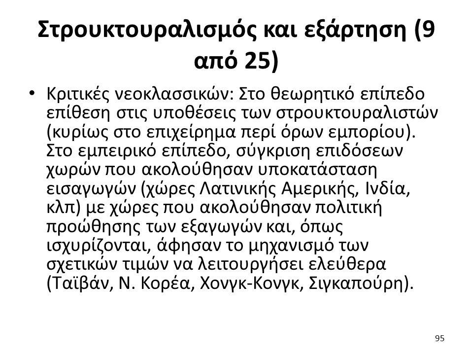 Στρουκτουραλισμός και εξάρτηση (9 από 25) Κριτικές νεοκλασσικών: Στο θεωρητικό επίπεδο επίθεση στις υποθέσεις των στρουκτουραλιστών (κυρίως στο επιχείρημα περί όρων εμπορίου).