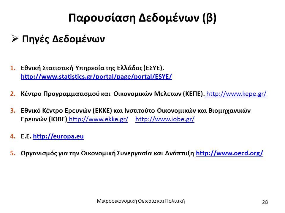 Παρουσίαση Δεδομένων (β)  Πηγές Δεδομένων 1.Εθνική Στατιστική Υπηρεσία της Ελλάδος (ΕΣΥΕ).