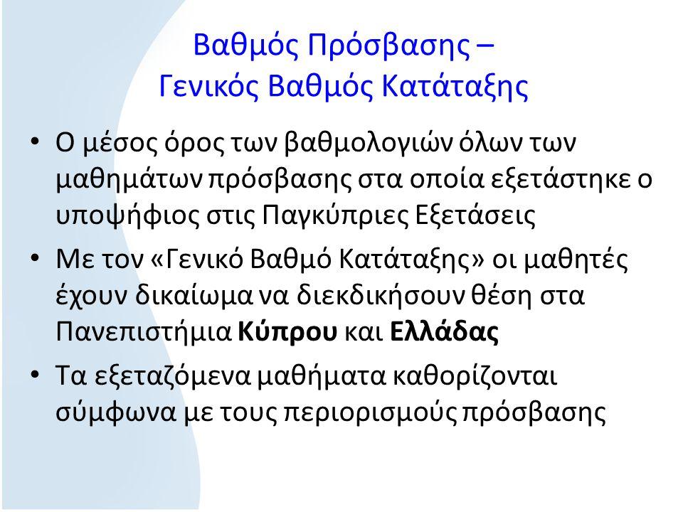 Βαθμός Πρόσβασης – Γενικός Βαθμός Κατάταξης O μέσος όρος των βαθμολογιών όλων των μαθημάτων πρόσβασης στα οποία εξετάστηκε ο υποψήφιος στις Παγκύπριες Εξετάσεις Με τον «Γενικό Βαθμό Κατάταξης» οι μαθητές έχουν δικαίωμα να διεκδικήσουν θέση στα Πανεπιστήμια Κύπρου και Ελλάδας Τα εξεταζόμενα μαθήματα καθορίζονται σύμφωνα με τους περιορισμούς πρόσβασης
