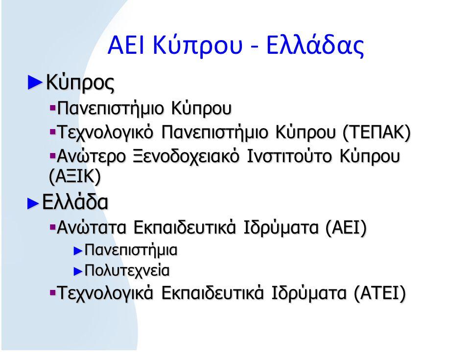 ΑΕΙ Κύπρου - Ελλάδας ► Κύπρος  Πανεπιστήμιο Κύπρου  Τεχνολογικό Πανεπιστήμιο Κύπρου (ΤΕΠΑΚ)  Ανώτερο Ξενοδοχειακό Ινστιτούτο Κύπρου (ΑΞΙΚ) ► Ελλάδα  Ανώτατα Εκπαιδευτικά Ιδρύματα (ΑΕΙ) ► Πανεπιστήμια ► Πολυτεχνεία  Τεχνολογικά Εκπαιδευτικά Ιδρύματα (ΑΤΕΙ)