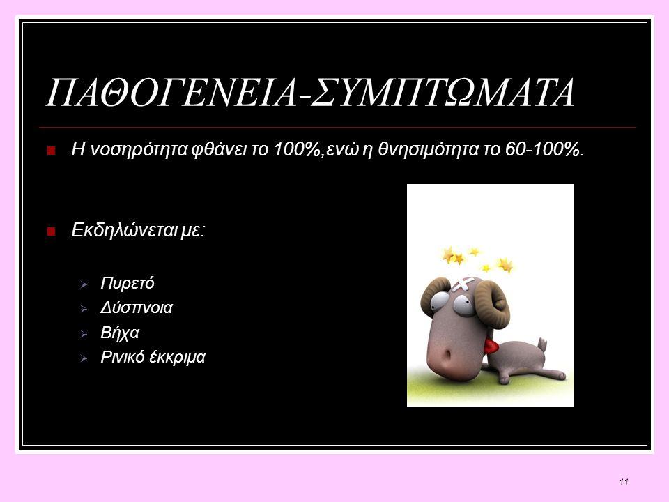 11 ΠΑΘΟΓΕΝΕΙΑ-ΣΥΜΠΤΩΜΑΤΑ Η νοσηρότητα φθάνει το 100%,ενώ η θνησιμότητα το 60-100%.