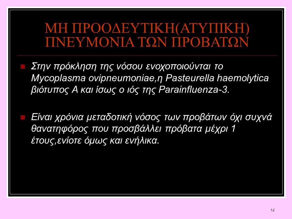 14 ΜΗ ΠΡΟΟΔΕΥΤΙΚΗ(ΑΤΥΠΙΚΗ) ΠΝΕΥΜΟΝΙΑ ΤΩΝ ΠΡΟΒΑΤΩΝ Στην πρόκληση της νόσου ενοχοποιούνται το Mycoplasma ovipneumoniae,η Pasteurella haemolytica βιότυπος Α και ίσως ο ιός της Parainfluenza-3.