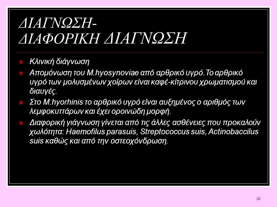 30 ΔΙΑΓΝΩΣΗ- ΔΙΑΦΟΡΙΚΗ ΔΙΑΓΝΩΣΗ Κλινική διάγνωση Απομόνωση του Μ.hyosynoviae από αρθρικό υγρό.Το αρθρικό υγρό των μολυσμένων χοίρων είναι καφέ-κίτρινου χρωματισμού και διαυγές.