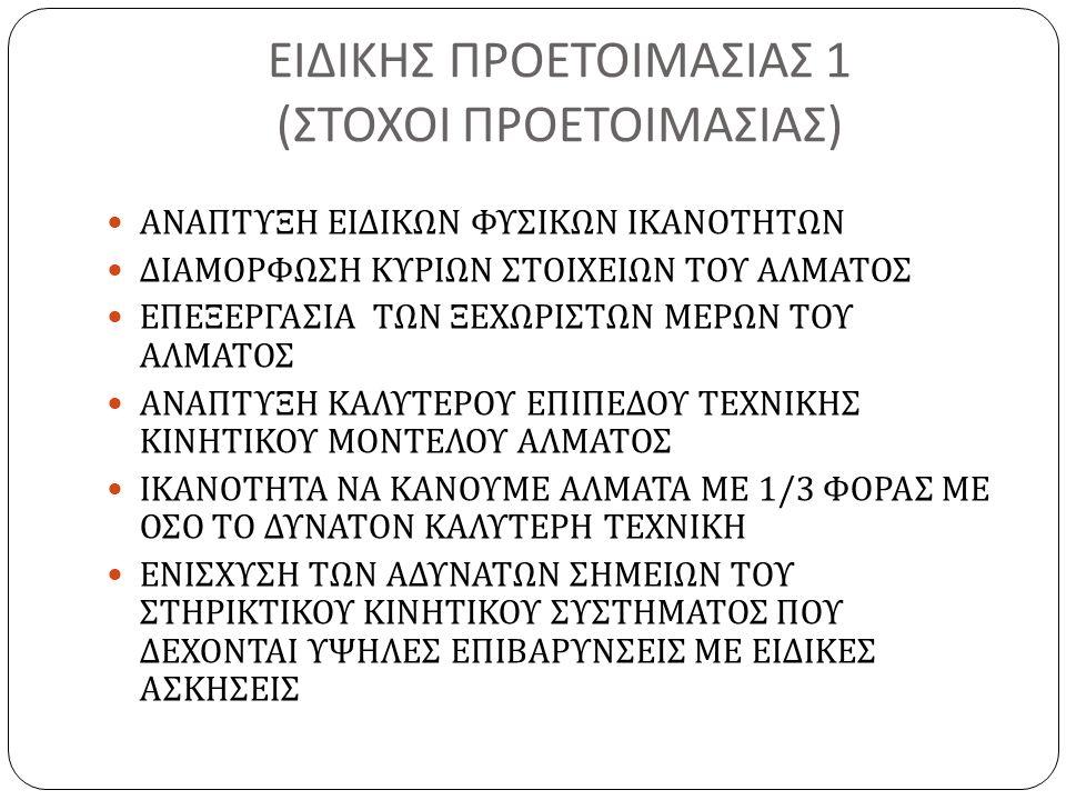 ΕΙΔΙΚΗΣ ΠΡΟΕΤΟΙΜΑΣΙΑΣ 1 ( ΣΤΟΧΟΙ ΠΡΟΕΤΟΙΜΑΣΙΑΣ ) ΑΝΑΠΤΥΞΗ ΕΙΔΙΚΩΝ ΦΥΣΙΚΩΝ ΙΚΑΝΟΤΗΤΩΝ ΔΙΑΜΟΡΦΩΣΗ ΚΥΡΙΩΝ ΣΤΟΙΧΕΙΩΝ ΤΟΥ ΑΛΜΑΤΟΣ ΕΠΕΞΕΡΓΑΣΙΑ ΤΩΝ ΞΕΧΩΡΙΣΤΩΝ ΜΕΡΩΝ ΤΟΥ ΑΛΜΑΤΟΣ ΑΝΑΠΤΥΞΗ ΚΑΛΥΤΕΡΟΥ ΕΠΙΠΕΔΟΥ ΤΕΧΝΙΚΗΣ ΚΙΝΗΤΙΚΟΥ ΜΟΝΤΕΛΟΥ ΑΛΜΑΤΟΣ ΙΚΑΝΟΤΗΤΑ ΝΑ ΚΑΝΟΥΜΕ ΑΛΜΑΤΑ ΜΕ 1/3 ΦΟΡΑΣ ΜΕ ΟΣΟ ΤΟ ΔΥΝΑΤΟΝ ΚΑΛΥΤΕΡΗ ΤΕΧΝΙΚΗ ΕΝΙΣΧΥΣΗ ΤΩΝ ΑΔΥΝΑΤΩΝ ΣΗΜΕΙΩΝ ΤΟΥ ΣΤΗΡΙΚΤΙΚΟΥ ΚΙΝΗΤΙΚΟΥ ΣΥΣΤΗΜΑΤΟΣ ΠΟΥ ΔΕΧΟΝΤΑΙ ΥΨΗΛΕΣ ΕΠΙΒΑΡΥΝΣΕΙΣ ΜΕ ΕΙΔΙΚΕΣ ΑΣΚΗΣΕΙΣ