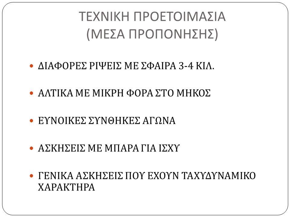 ΤΕΧΝΙΚΗ ΠΡΟΕΤΟΙΜΑΣΙΑ ( ΜΕΣΑ ΠΡΟΠΟΝΗΣΗΣ ) ΔΙΑΦΟΡΕΣ ΡΙΨΕΙΣ ΜΕ ΣΦΑΙΡΑ 3-4 ΚΙΛ. ΑΛΤΙΚΑ ΜΕ ΜΙΚΡΗ ΦΟΡΑ ΣΤΟ ΜΗΚΟΣ ΕΥΝΟΙΚΕΣ ΣΥΝΘΗΚΕΣ ΑΓΩΝΑ ΑΣΚΗΣΕΙΣ ΜΕ ΜΠΑΡΑ Γ