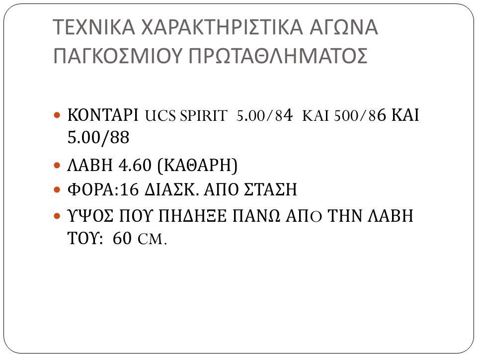 ΤΕΧΝΙΚΑ ΧΑΡΑΚΤΗΡΙΣΤΙΚΑ ΑΓΩΝΑ ΠΑΓΚΟΣΜΙΟΥ ΠΡΩΤΑΘΛΗΜΑΤΟΣ ΚΟΝΤΑΡΙ UCS SPIRIT 5.00/84 KAI 500/86 ΚΑΙ 5.00/88 ΛΑΒΗ 4.60 ( ΚΑΘΑΡΗ ) ΦΟΡΑ :16 ΔΙΑΣΚ. ΑΠΟ ΣΤΑΣΗ