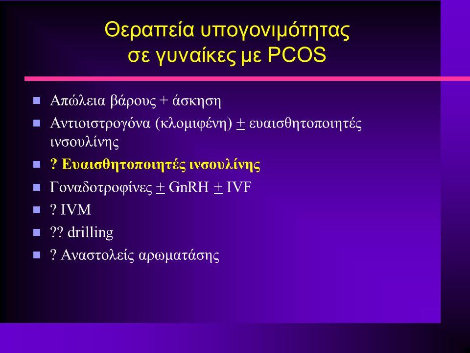 Θεραπεία υπογονιμότητας σε γυναίκες με PCOS n Απώλεια βάρους + άσκηση n Αντιοιστρογόνα (κλομιφένη) + ευαισθητοποιητές ινσουλίνης n .