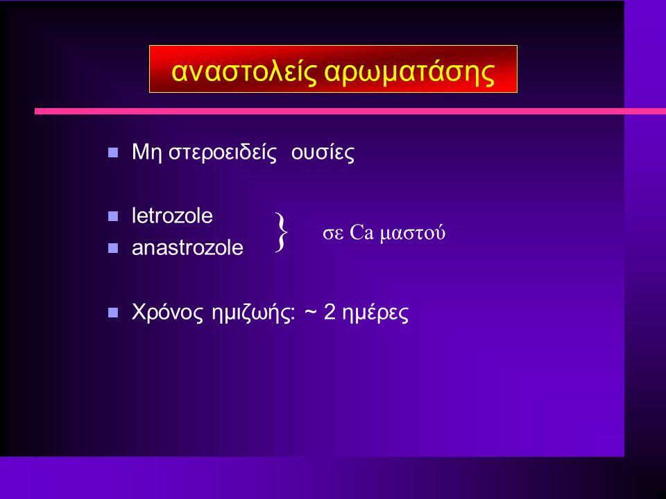 αναστολείς αρωματάσης n Μη στεροειδείς ουσίες n letrozole n anastrozole n Χρόνος ημιζωής: ~ 2 ημέρες } σε Ca μαστού