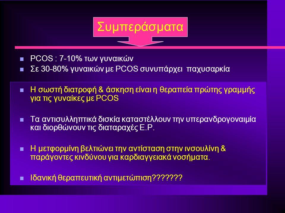 Συμπεράσματα n PCOS : 7-10% των γυναικών n Σε 30-80% γυναικών με PCOS συνυπάρχει παχυσαρκία n Η σωστή διατροφή & άσκηση είναι η θεραπεία πρώτης γραμμής για τις γυναίκες με PCOS n Τα αντισυλληπτικά δισκία καταστέλλουν την υπερανδρογοναιμία και διορθώνουν τις διαταραχές Ε.Ρ.