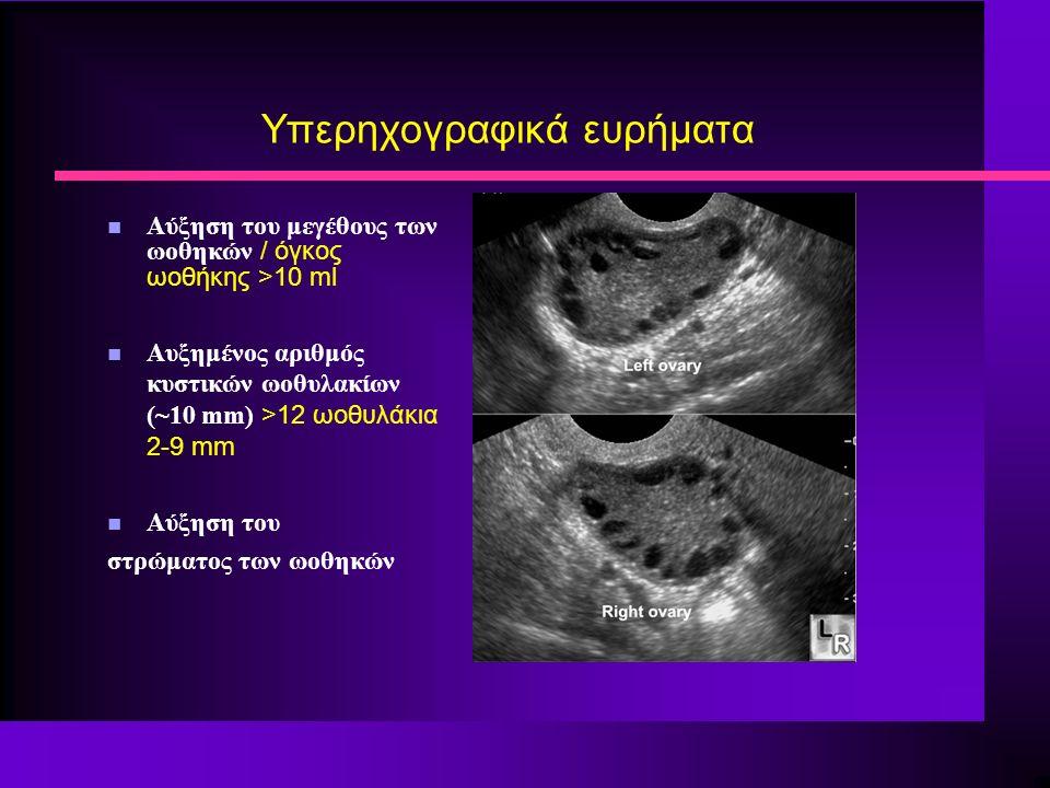 Υπερηχογραφικά ευρήματα Αύξηση του μεγέθους των ωοθηκών / όγκος ωοθήκης >10 ml Αυξημένος αριθμός κυστικών ωοθυλακίων (~10 mm) >12 ωοθυλάκια 2-9 mm n Αύξηση του στρώματος των ωοθηκών