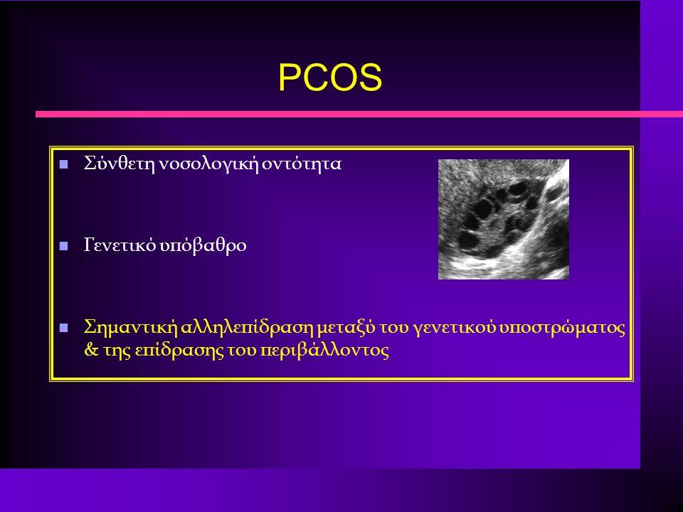 PCOS n Σύνθετη νοσολογική οντότητα n Γενετικό υπόβαθρο n Σημαντική αλληλεπίδραση μεταξύ του γενετικού υποστρώματος & της επίδρασης του περιβάλλοντος