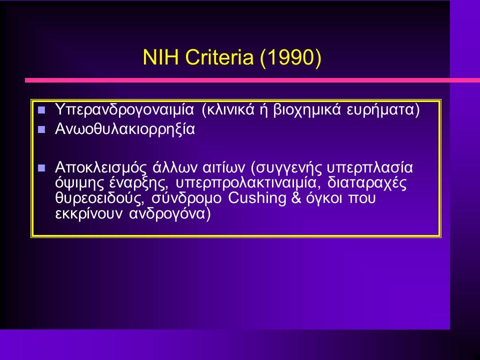 NIH Criteria (1990) n Υπερανδρογοναιμία (κλινικά ή βιοχημικά ευρήματα) n Ανωοθυλακιορρηξία n Αποκλεισμός άλλων αιτίων (συγγενής υπερπλασία όψιμης έναρξης, υπερπρολακτιναιμία, διαταραχές θυρεοειδούς, σύνδρομο Cushing & όγκοι που εκκρίνουν ανδρογόνα)
