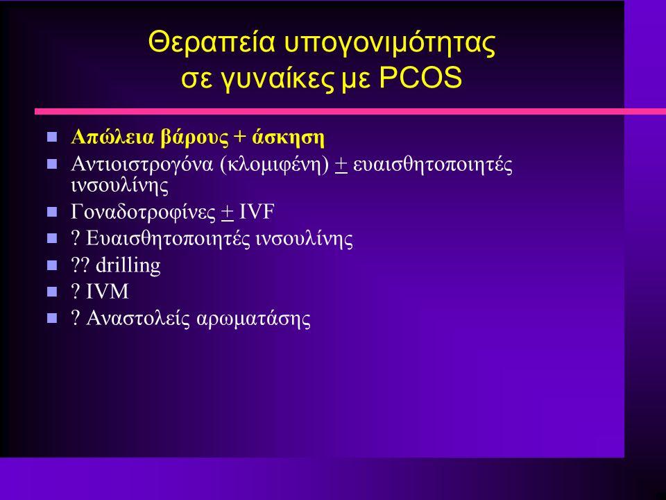 Θεραπεία υπογονιμότητας σε γυναίκες με PCOS n Απώλεια βάρους + άσκηση n Αντιοιστρογόνα (κλομιφένη) + ευαισθητοποιητές ινσουλίνης n Γοναδοτροφίνες + IVF n .