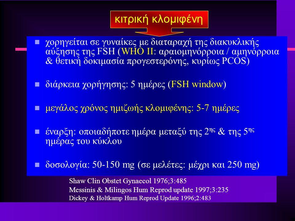 κιτρική κλομιφένη n χορηγείται σε γυναίκες με διαταραχή της διακυκλικής αύξησης της FSH (WHO II: αραιομηνόρροια / αμηνόρροια & θετική δοκιμασία προγεστερόνης, κυρίως PCOS) n διάρκεια χορήγησης: 5 ημέρες (FSH window) n μεγάλος χρόνος ημιζωής κλομιφένης: 5-7 ημέρες n έναρξη: οποιαδήποτε ημέρα μεταξύ της 2 ης & της 5 ης ημέρας του κύκλου n δοσολογία: 50-150 mg (σε μελέτες: μέχρι και 250 mg) Shaw Clin Obstet Gynaecol 1976;3:485 Messinis & Milingos Hum Reprod update 1997;3:235 Dickey & Holtkamp Hum Reprod Update 1996;2:483