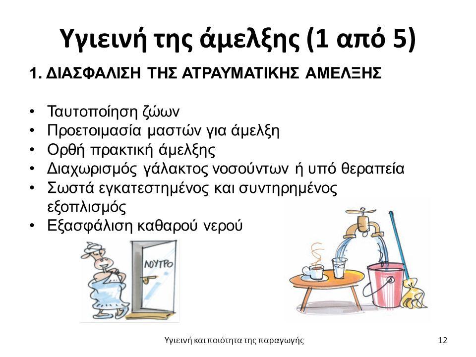 Υγιεινή της άμελξης (1 από 5) 1. ΔΙΑΣΦΑΛΙΣΗ ΤΗΣ ΑΤΡΑΥΜΑΤΙΚΗΣ ΑΜΕΛΞΗΣ Ταυτοποίηση ζώων Προετοιμασία μαστών για άμελξη Ορθή πρακτική άμελξης Διαχωρισμός