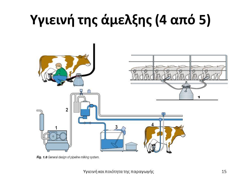 Υγιεινή της άμελξης (4 από 5) Υγιεινή και ποιότητα της παραγωγής 15