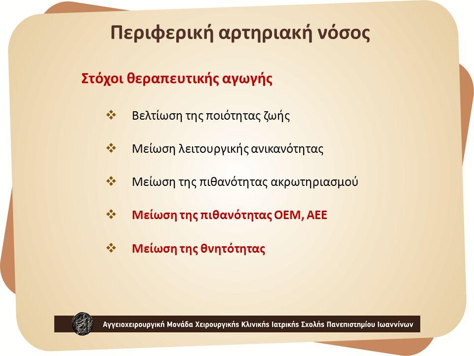 Στόχοι θεραπευτικής αγωγής  Βελτίωση της ποιότητας ζωής  Μείωση λειτουργικής ανικανότητας  Μείωση της πιθανότητας ακρωτηριασμού  Μείωση της πιθανότητας ΟΕΜ, ΑΕΕ  Μείωση της θνητότητας Περιφερική αρτηριακή νόσος