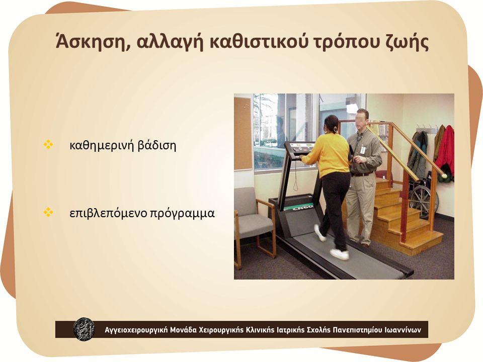  καθημερινή βάδιση  επιβλεπόμενο πρόγραμμα Άσκηση, αλλαγή καθιστικού τρόπου ζωής