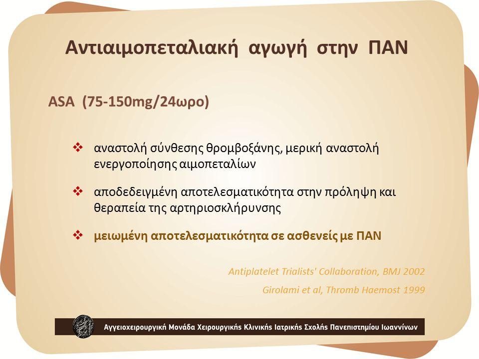 ASA (75-150mg/24ωρο)  αναστολή σύνθεσης θρομβοξάνης, μερική αναστολή ενεργοποίησης αιμοπεταλίων  αποδεδειγμένη αποτελεσματικότητα στην πρόληψη και θεραπεία της αρτηριοσκλήρυνσης  μειωμένη αποτελεσματικότητα σε ασθενείς με ΠΑΝ Antiplatelet Trialists Collaboration, BMJ 2002 Girolami et al, Thromb Haemost 1999 Αντιαιμοπεταλιακή αγωγή στην ΠΑΝ