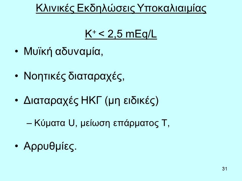 31 Κλινικές Εκδηλώσεις Υποκαλιαιμίας Κ + < 2,5 mEq/L Μυϊκή αδυναμία, Νοητικές διαταραχές, Διαταραχές ΗΚΓ (μη ειδικές) –Κύματα U, μείωση επάρματος Τ, Αρρυθμίες.