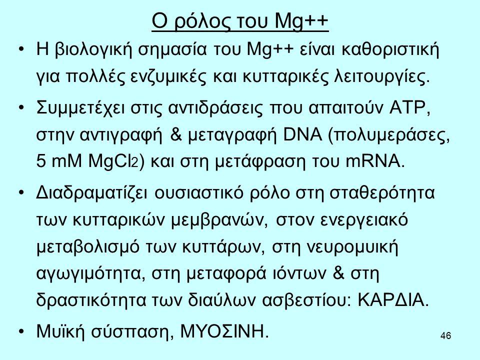 46 Ο ρόλος του Mg++ Η βιολογική σημασία του Mg++ είναι καθοριστική για πολλές ενζυμικές και κυτταρικές λειτουργίες.