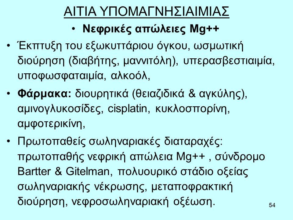 54 ΑΙΤΙΑ ΥΠΟΜΑΓΝΗΣΙΑΙΜΙΑΣ Νεφρικές απώλειες Mg++ Έκπτυξη του εξωκυττάριου όγκου, ωσμωτική διούρηση (διαβήτης, μαννιτόλη), υπερασβεστιαιμία, υποφωσφαταιμία, αλκοόλ, Φάρμακα: διουρητικά (θειαζιδικά & αγκύλης), αμινογλυκοσίδες, cisplatin, κυκλοσπορίνη, αμφοτερικίνη, Πρωτοπαθείς σωληναριακές διαταραχές: πρωτοπαθής νεφρική απώλεια Mg++, σύνδρομο Bartter & Gitelman, πολυουρικό στάδιο οξείας σωληναριακής νέκρωσης, μεταποφρακτική διούρηση, νεφροσωληναριακή οξέωση.