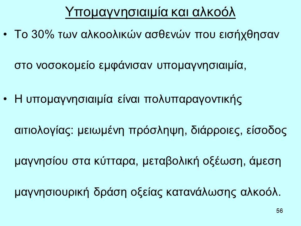 56 Yπομαγνησιαιμία και αλκοόλ Το 30% των αλκοολικών ασθενών που εισήχθησαν στο νοσοκομείο εμφάνισαν υπομαγνησιαιμία, Η υπομαγνησιαιμία είναι πολυπαραγοντικής αιτιολογίας: μειωμένη πρόσληψη, διάρροιες, είσοδος μαγνησίου στα κύτταρα, μεταβολική οξέωση, άμεση μαγνησιουρική δράση οξείας κατανάλωσης αλκοόλ.