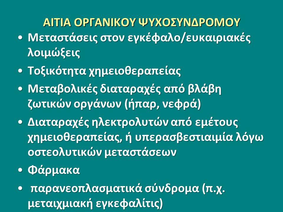 ΑΙΤΙΑ ΟΡΓΑΝΙΚΟΥ ΨΥΧΟΣΥΝΔΡΟΜΟΥ Μεταστάσεις στον εγκέφαλο/ευκαιριακές λοιμώξειςΜεταστάσεις στον εγκέφαλο/ευκαιριακές λοιμώξεις Τοξικότητα χημειοθεραπείαςΤοξικότητα χημειοθεραπείας Μεταβολικές διαταραχές από βλάβη ζωτικών οργάνων (ήπαρ, νεφρά)Μεταβολικές διαταραχές από βλάβη ζωτικών οργάνων (ήπαρ, νεφρά) Διαταραχές ηλεκτρολυτών από εμέτους χημειοθεραπείας, ή υπερασβεστιαιμία λόγω οστεολυτικών μεταστάσεωνΔιαταραχές ηλεκτρολυτών από εμέτους χημειοθεραπείας, ή υπερασβεστιαιμία λόγω οστεολυτικών μεταστάσεων ΦάρμακαΦάρμακα παρανεοπλασματικά σύνδρομα (π.χ.