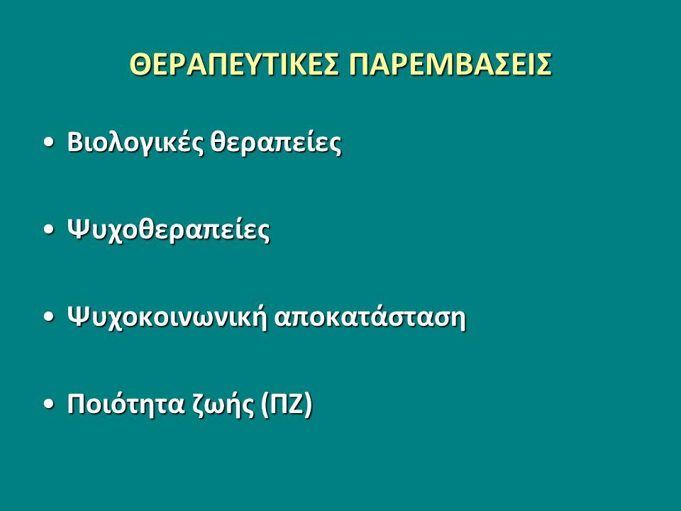 ΘΕΡΑΠΕΥΤΙΚΕΣ ΠΑΡΕΜΒΑΣΕΙΣ Βιολογικές θεραπείεςΒιολογικές θεραπείες ΨυχοθεραπείεςΨυχοθεραπείες Ψυχοκοινωνική αποκατάστασηΨυχοκοινωνική αποκατάσταση Ποιότητα ζωής (ΠΖ)Ποιότητα ζωής (ΠΖ)