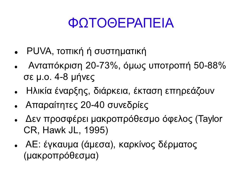 ΦΩΤΟΘΕΡΑΠΕΙΑ PUVA, τοπική ή συστηματική Ανταπόκριση 20-73%, όμως υποτροπή 50-88% σε μ.ο.