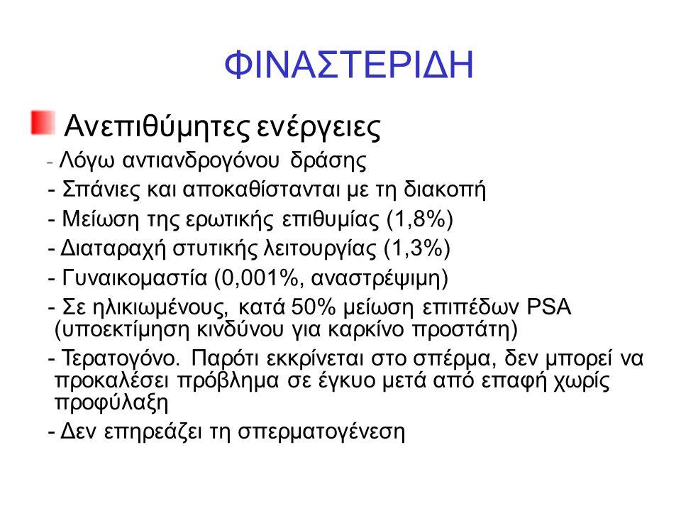 ΦΙΝΑΣΤΕΡΙΔΗ Ανεπιθύμητες ενέργειες - Λόγω αντιανδρογόνου δράσης - Σπάνιες και αποκαθίστανται με τη διακοπή - Μείωση της ερωτικής επιθυμίας (1,8%) - Διαταραχή στυτικής λειτουργίας (1,3%) - Γυναικομαστία (0,001%, αναστρέψιμη) - Σε ηλικιωμένους, κατά 50% μείωση επιπέδων PSA (υποεκτίμηση κινδύνου για καρκίνο προστάτη) - Τερατογόνο.