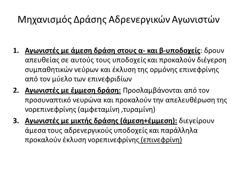 Μηχανισμός Δράσης Αδρενεργικών Αγωνιστών 1.Αγωνιστές με άμεση δράση στους α- και β-υποδοχείς: δρουν απευθείας σε αυτούς τους υποδοχείς και προκαλούν δ