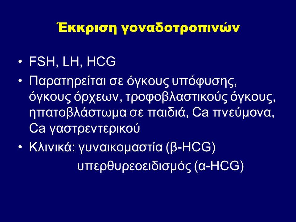 Έκκριση γοναδοτροπινών FSH, LH, HCG Παρατηρείται σε όγκους υπόφυσης, όγκους όρχεων, τροφοβλαστικούς όγκους, ηπατοβλάστωμα σε παιδιά, Ca πνεύμονα, Ca γ