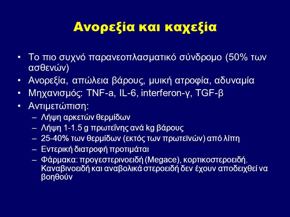 Το πιο συχνό παρανεοπλασματικό σύνδρομο (50% των ασθενών) Ανορεξία, απώλεια βάρους, μυική ατροφία, αδυναμία Μηχανισμός: TNF-a, IL-6, interferon-γ, TGF