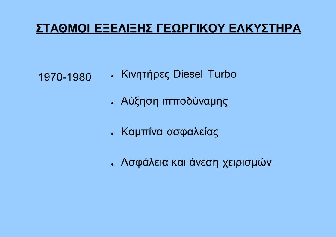 ΣΤΑΘΜΟΙ ΕΞΕΛΙΞΗΣ ΓΕΩΡΓΙΚΟΥ ΕΛΚΥΣΤΗΡΑ 1970-1980 ● Κινητήρες Diesel Turbo ● Αύξηση ιπποδύναμης ● Καμπίνα ασφαλείας ● Ασφάλεια και άνεση χειρισμών
