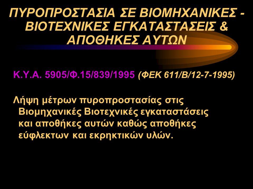 ΠΥΡΟΠΡΟΣΤΑΣΙΑ ΣΕ ΒΙΟΜΗΧΑΝΙΚΕΣ - ΒΙΟΤΕΧΝΙΚΕΣ ΕΓΚΑΤΑΣΤΑΣΕΙΣ & ΑΠΟΘΗΚΕΣ ΑΥΤΩΝ Κ.Υ.Α. 5905/Φ.15/839/1995 (ΦΕΚ 611/Β/12-7-1995) Λήψη μέτρων πυροπροστασίας