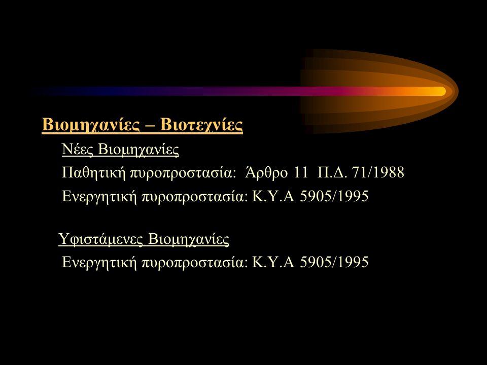 Βιομηχανίες – Βιοτεχνίες Νέες Βιομηχανίες Παθητική πυροπροστασία: Άρθρο 11 Π.Δ. 71/1988 Ενεργητική πυροπροστασία: Κ.Υ.Α 5905/1995 Υφιστάμενες Βιομηχαν