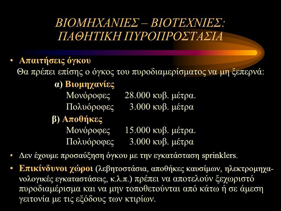 ΒΙΟΜΗΧΑΝΙΕΣ – ΒΙΟΤΕΧΝΙΕΣ: ΠΑΘΗΤΙΚΗ ΠΥΡΟΠΡΟΣΤΑΣΙΑ Απαιτήσεις όγκου Θα πρέπει επίσης ο όγκος του πυροδιαμερίσματος να μη ξεπερνά: α) Βιομηχανίες Μονόροφες 28.000 κυβ.