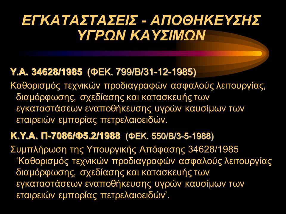 ΕΓΚΑΤΑΣΤΑΣΕΙΣ - ΑΠΟΘΗΚΕΥΣΗΣ ΥΓΡΩΝ ΚΑΥΣΙΜΩΝ Υ.Α. 34628/1985 (ΦΕΚ. 799/Β/31-12-1985) Καθορισμός τεχνικών προδιαγραφών ασφαλούς λειτουργίας, διαμόρφωσης,