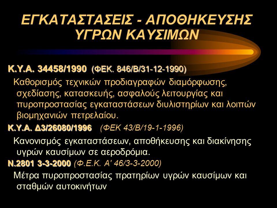 ΕΓΚΑΤΑΣΤΑΣΕΙΣ - ΑΠΟΘΗΚΕΥΣΗΣ ΥΓΡΩΝ ΚΑΥΣΙΜΩΝ Κ.Υ.Α. 34458/1990 (ΦΕΚ. 846/Β/31-12-1990) Καθορισμός τεχνικών προδιαγραφών διαμόρφωσης, σχεδίασης, κατασκευ